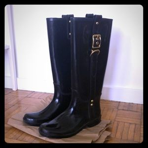 Coach rain boots with gold buckle (size 7.5)